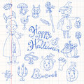 Hand drawn doodle collection of halloween elements: suits, char