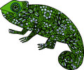 Hand drawn doodle colorful chameleon illustration decorated with ornaments Royalty Free Stock Photo