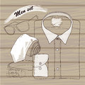 Hand drawn doodle coordination shirt tie spectacles and belt vector illustration of men set on wood background hipster natural Stock Photo