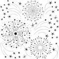 Hand drawn doodle fireworks