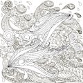 Hand drawn doodle fishes on waves, anti stress coloring page