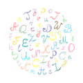 Hand Drawn Doodle Font. Children Drawings of Colorful Scribble Alphabet Arranged in a Circle.