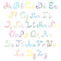 Hand Drawn Doodle Font. Children Drawings of Colorful Scribble Alphabet