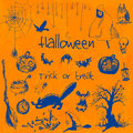Hand drawn doodle halloween party elements. Blue objects, orange watercolor background. Design illustration for poster