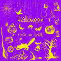 Hand drawn doodle halloween party elements. Yellow objects, violet watercolor background. Design illustration for poster
