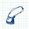 Hand drawn doodle handbag. Blue pen outline,notebook background. Pupil, student, school, education. Royalty Free Stock Photo