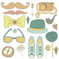 Hand drawn doodle hipster objects collection Royalty Free Stock Photo
