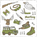 Hand drawn doodle hunting set. Royalty Free Stock Photo