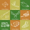 Hand drawn doodle hunting set. Sketchy hunt related icons, hunting elements, gun, crossbow, hunting wear cloths, boots, duck, bino Royalty Free Stock Photo