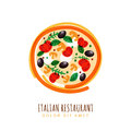 Hand drawn doodle illustration of italian pizza with tomato, mus Royalty Free Stock Photo