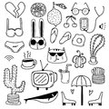 Hand Drawn Doodle Lovely Vector Set. Doodle Funny Set. Royalty Free Stock Photo
