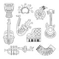 Hand drawn doodle musical instruments set.