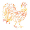 Hand drawn doodle outline rooster illustration. Decorative in African indian totem Ethnic tribal aztec design. Royalty Free Stock Photo