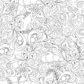 Hand drawn doodle pattern in vector. Zentangle background. Seamless abstract texture. Ethnic doodle design with henna ornament. Royalty Free Stock Photo