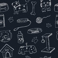 Hand drawn doodle Pets stuff and supply icons seamless pattern. Vector illustration. Vet symbol collection. Cartoon dogs