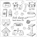 Hand drawn doodle Pets stuff and supply icons set. Vector illustration. Vet symbol collection. Cartoon dogs cats car