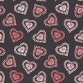 Hand drawn doodle seamless pattern of hearts this is file eps format Stock Image