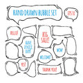 Hand drawn doodle speech bubbles set with accentuation