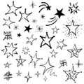 Hand drawn doodle stars vector collection, cartoon stars icon set, sky sign