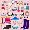Hand Drawn Doodle Sticker Vector Fashion Set. Royalty Free Stock Photo