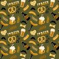 Hand drawn doodle style Beer and Food seamless pattern. Oktoberfest.
