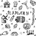 Hand drawn doodle style set of Germany elements.