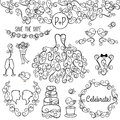 Hand drawn doodle style wedding vector set with dress tuxedo and monogram border Stock Photography