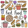 Hand Drawn Doodle Vector Fast Food Set.