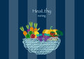 Hand drawn doodle Vegetables and wicker basket on blue stripe backgrounds,Vector illustrations Royalty Free Stock Photo