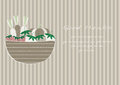 Hand drawn doodle Vegetables and wicker basket on brown stripe backgrounds,Vector illustrations Royalty Free Stock Photo