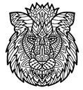 Hand drawn doodle zentangle lion illustration. Decorative Royalty Free Stock Photo