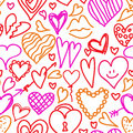Hand drawn doodled hearts seamless pattern in vector Stock Images
