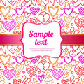 Hand drawn doodled hearts seamless pattern in vector Royalty Free Stock Image