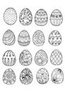Hand drawn Easter eggs for coloring book
