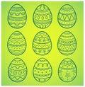 Hand drawn easter eggs set