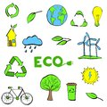Hand drawn Ecology symbols set. Modern linear style vector concept