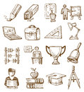 Hand drawn education vector icons set on white Stock Photos
