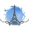 Hand drawn Eiffel Tower. Paris Royalty Free Stock Photo