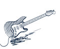 Hand drawn electric guitar on white Royalty Free Stock Photography