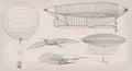 Hand drawn element object vintage air transport airship dirigibl