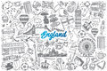Hand drawn England doodle set with lettering