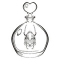 Hand drawn engraving Sketch of Scarab Beetle. Bug in the glass b Royalty Free Stock Photo