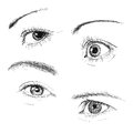 Hand drawn eyes collection vector Royalty Free Stock Image