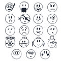 Hand drawn faces with different emotions. Set of cute smiley fac
