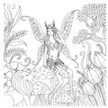 Hand drawn fairy playing in the forest for coloring book for adult Royalty Free Stock Photo