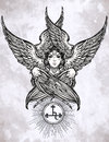 Hand drawn fallen angel Lilith partrait. Royalty Free Stock Photo