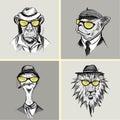 Hand Drawn Fashion Portrait of Lion,monkey, ostrich, Bulldog