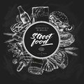 Hand drawn fast food banner. Street food. Burger, hot dog, soda, french fries, pizza, coffee, bagels. Chalkbord vector