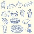 Hand Drawn Fast Food Icon Set Royalty Free Stock Photos