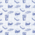 Hand drawn fast food pattern. Burger, pizza, french fries detailed illustrations. Great for school cafe menu or banner Royalty Free Stock Photo